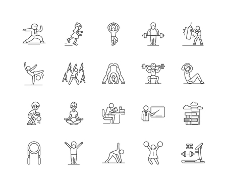 Exercise line icons, linear signs, vector set, outline concept illustration Archivio Fotografico - 122419330