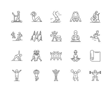 Exercise and fitness line icons, linear signs, vector set, outline concept illustration Archivio Fotografico - 122419331