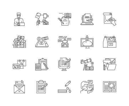 Editorial business line icons, linear signs, vector set, outline concept illustration