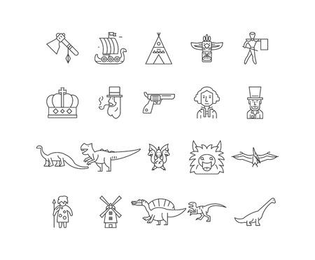 Evolution line icons, linear signs, vector set, outline concept illustration