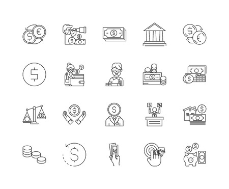 Exchange line icons, linear signs, vector set, outline concept illustration