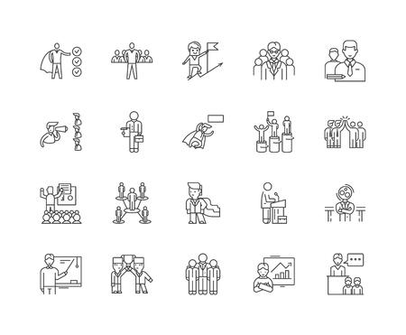 Iconos de línea de entrenador ejecutivo, signos lineales, conjunto de vectores, ilustración del concepto de esquema Ilustración de vector