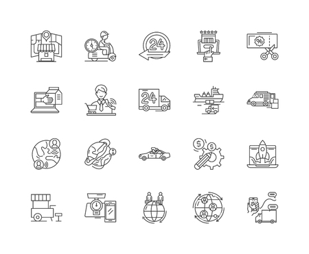 Express delivery line icons, linear signs, vector set, outline concept illustration