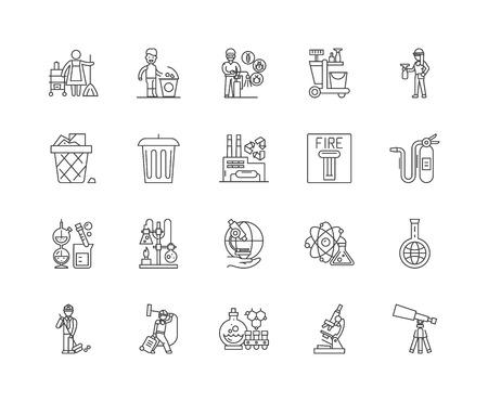 Exterminar y desinfectar los iconos de línea de servicios, signos lineales, conjunto de vectores, ilustración del concepto de esquema