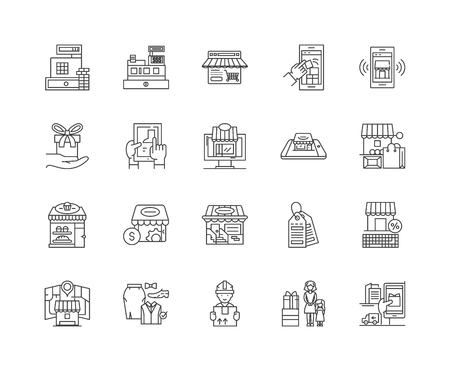 Fabric shop line icons, linear signs, vector set, outline concept illustration