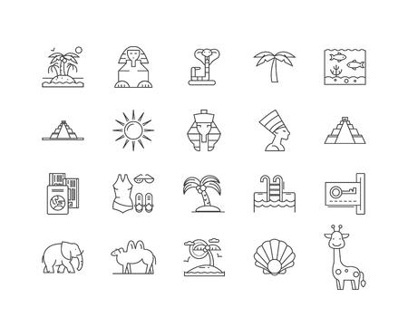 Egypt line icons, linear signs, vector set, outline concept illustration