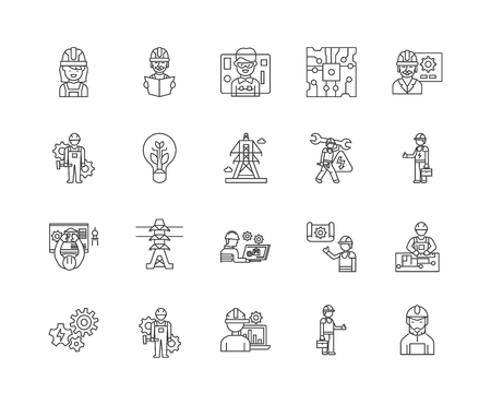 Electrician line icons, linear signs, vector set, outline concept illustration