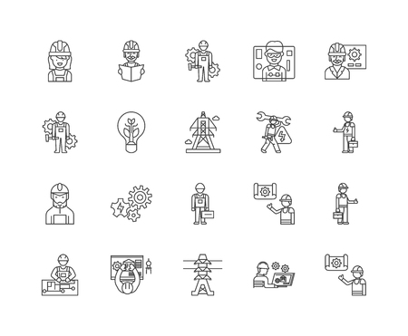 Electricians line icons, linear signs, vector set, outline concept illustration Illustration