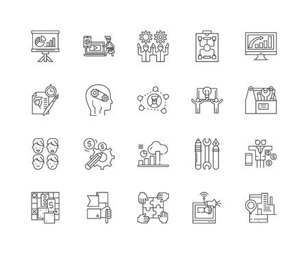 Einrichtungen unterstützen Liniensymbole, lineare Zeichen, Vektorsatz, Umrisskonzeptillustration