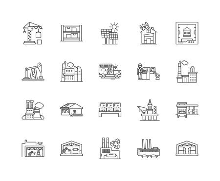 Facility line icons, linear signs, vector set, outline concept illustration Ilustração Vetorial
