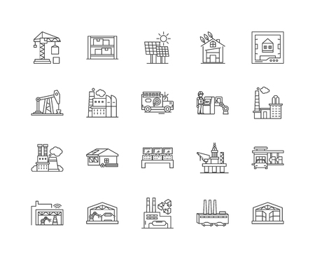 Facility line icons, linear signs, vector set, outline concept illustration