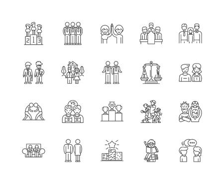 Fair line icons, linear signs, vector set, outline concept illustration