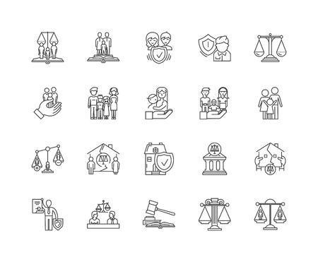 Family lawyer line icons, linear signs, vector set, outline concept illustration