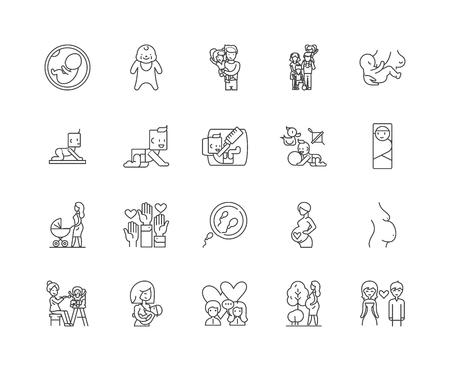 Family planning line icons, linear signs, vector set, outline concept illustration