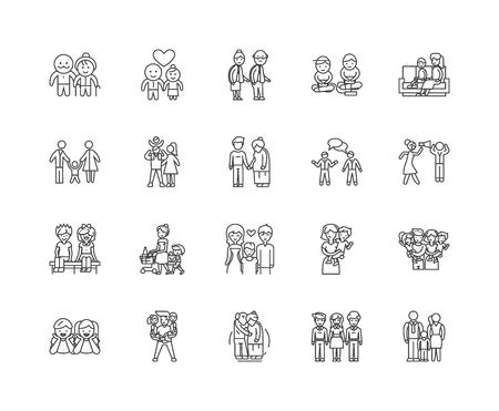 Family psyhology line icons, linear signs, vector set, outline concept illustration Illustration