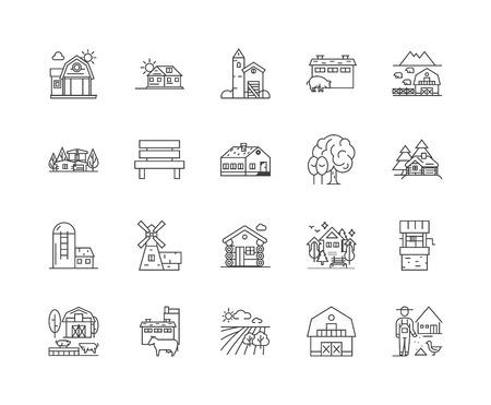 Icônes de ligne de chalet de ferme, signes linéaires, ensemble de vecteurs, illustration de concept de contour