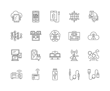 Electronic connectors line icons, linear signs, vector set, outline concept illustration