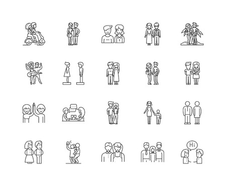 Favourite line icons, linear signs, vector set, outline concept illustration 向量圖像