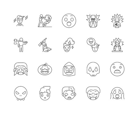 Fear line icons, linear signs, vector set, outline concept illustration Illustration