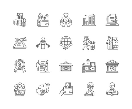 Federal credit agency line icons, linear signs, vector set, outline concept illustration