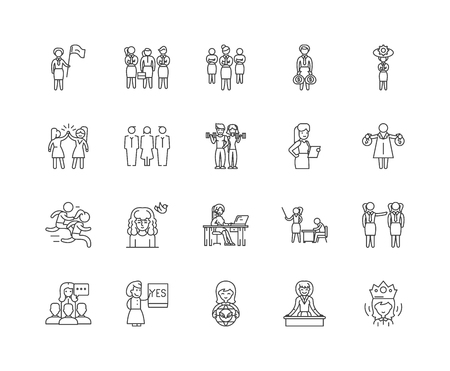 Feminism line icons, linear signs, vector set, outline concept illustration