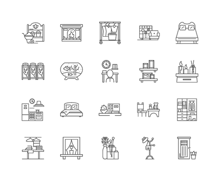 Feng shui line icons, linear signs, vector set, outline concept illustration