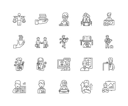 Financial advisors line icons, linear signs, vector set, outline concept illustration