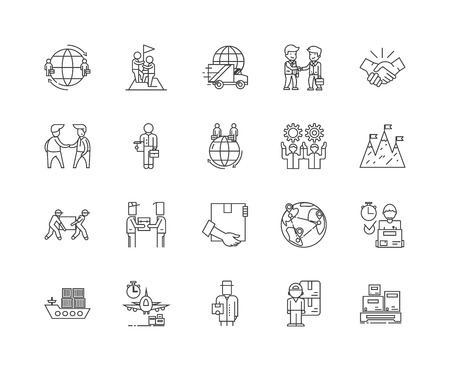 Export business line icons, linear signs, vector set, outline concept illustration Illustration