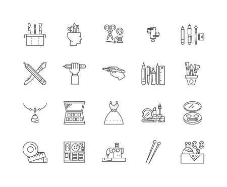 Fashion designers line icons, linear signs, vector set, outline concept illustration