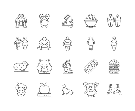 Fat line icons, linear signs, vector set, outline concept illustration Illustration