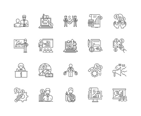 Icônes de ligne de relations financières, signes linéaires, ensemble de vecteurs, illustration de concept de contour Vecteurs