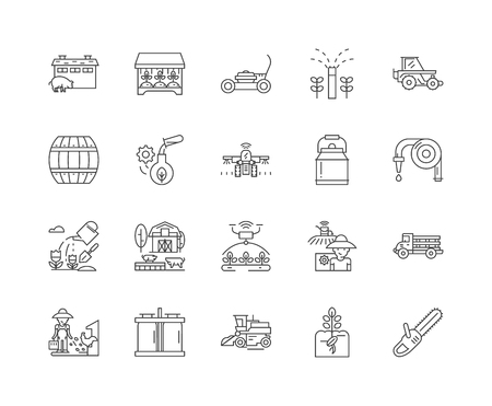 Farming services line icons, linear signs, vector set, outline concept illustration