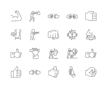 Fist line icons, linear signs, vector set, outline concept illustration