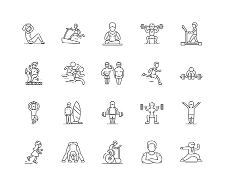 Fitness line icons, linear signs, vector set, outline concept illustration Archivio Fotografico - 122419100