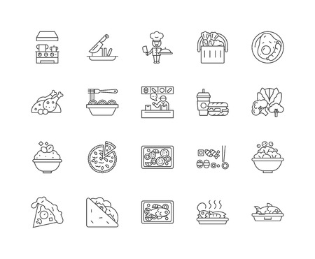 Food and dining line icons, linear signs, vector set, outline concept illustration Illustration