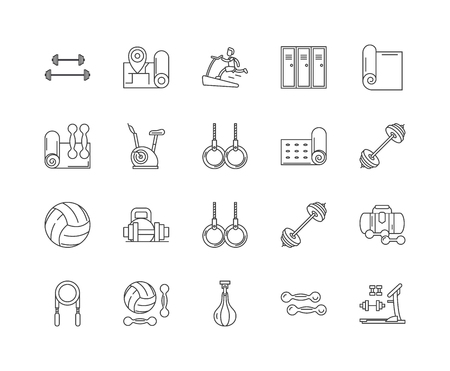 Fitness equipment line icons, linear signs, vector set, outline concept illustration