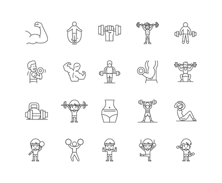 Fitness training line icons, linear signs, vector set, outline concept illustration