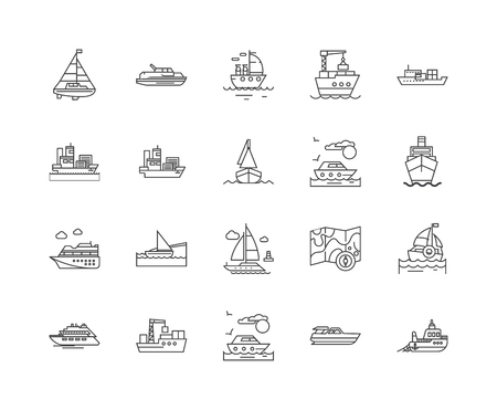 Fleet tracking line icons, linear signs, vector set, outline concept illustration