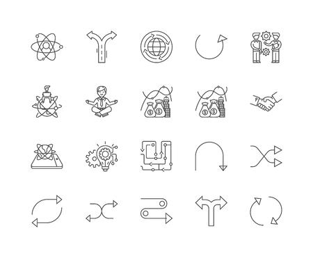 Icônes de ligne de flexibilité, signes linéaires, ensemble de vecteurs, illustration de concept de contour Vecteurs