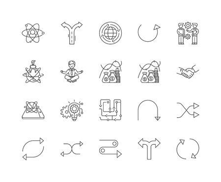 Symbole für Flexibilitätslinien, lineare Zeichen, Vektorsatz, Umrisskonzeptillustration Vektorgrafik
