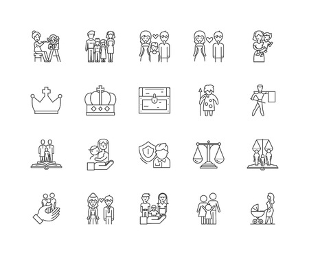Family history line icons, linear signs, vector set, outline concept illustration Vectores