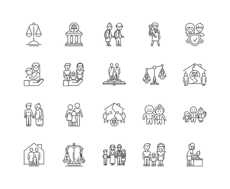 Family law line icons, linear signs, vector set, outline concept illustration