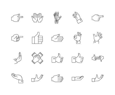 Finger line icons, linear signs, vector set, outline concept illustration