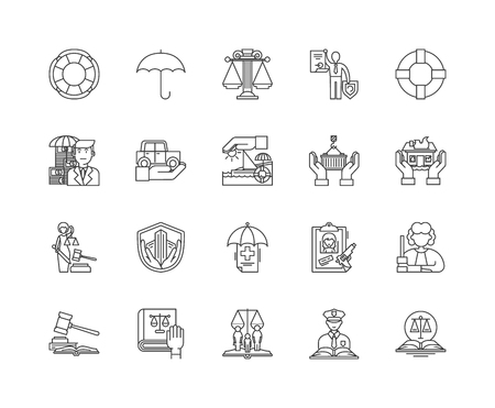 Fire marine and casualty insurance line icons, linear signs, vector set, outline concept illustration