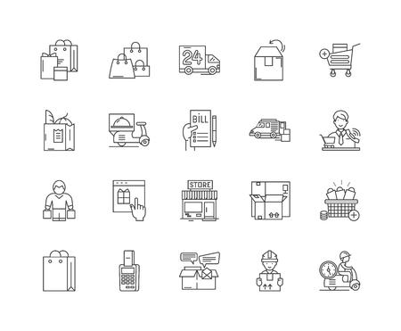 Food delivery services line icons, linear signs, vector set, outline concept illustration Illustration