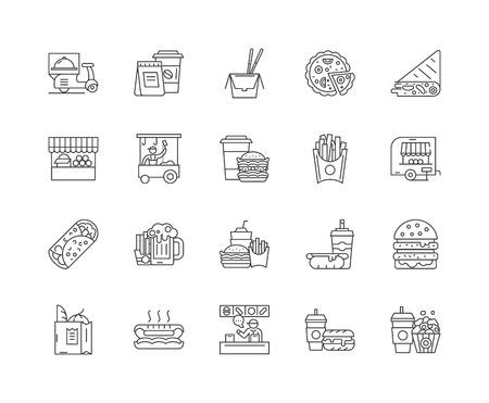 Food track line icons, linear signs, vector set, outline concept illustration Illustration