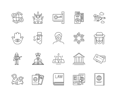 Foreign government line icons, linear signs, vector set, outline concept illustration 向量圖像