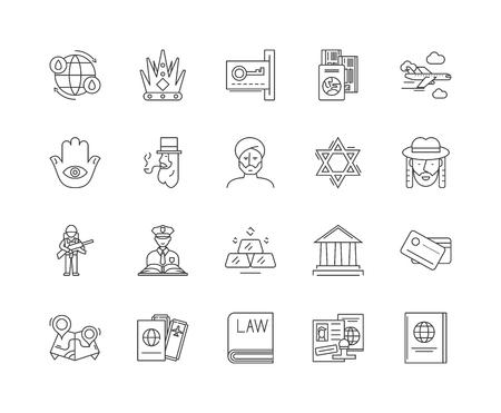 Liniensymbole der ausländischen Regierung, lineare Zeichen, Vektorsatz, Umrisskonzeptillustration