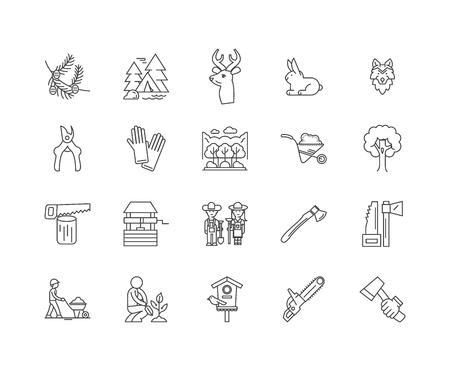 Forestry and woodland line icons, linear signs, vector set, outline concept illustration Illustration