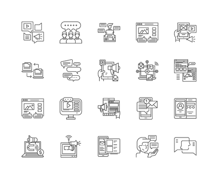 Forums and message boards line icons, linear signs, vector set, outline concept illustration